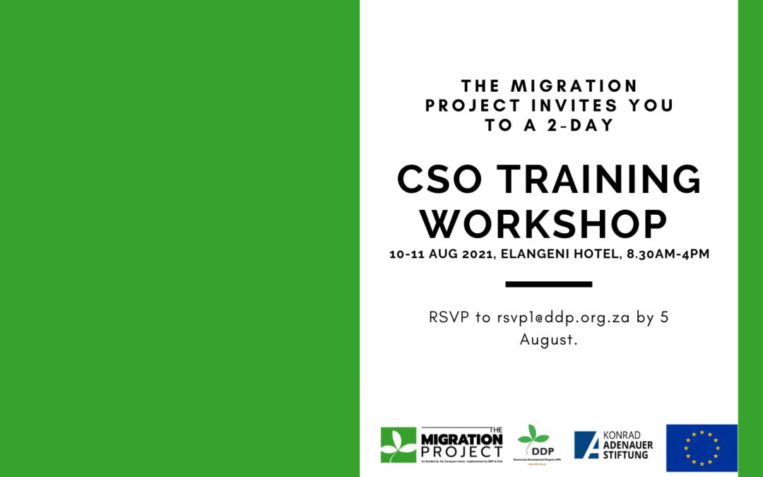 Civil Society Organisation (CSO) Training Workshop – 10-11  August 2021