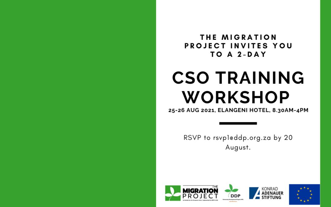 Civil Society Organisation (CSO) Training Workshop – 25-26  Aug 2021