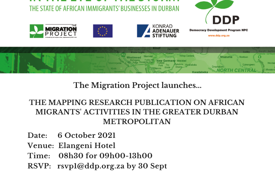 Mapping Research Publication Launch: African Migrants' Activities in the Greater Durban Metropolitan – 6 October 2021
